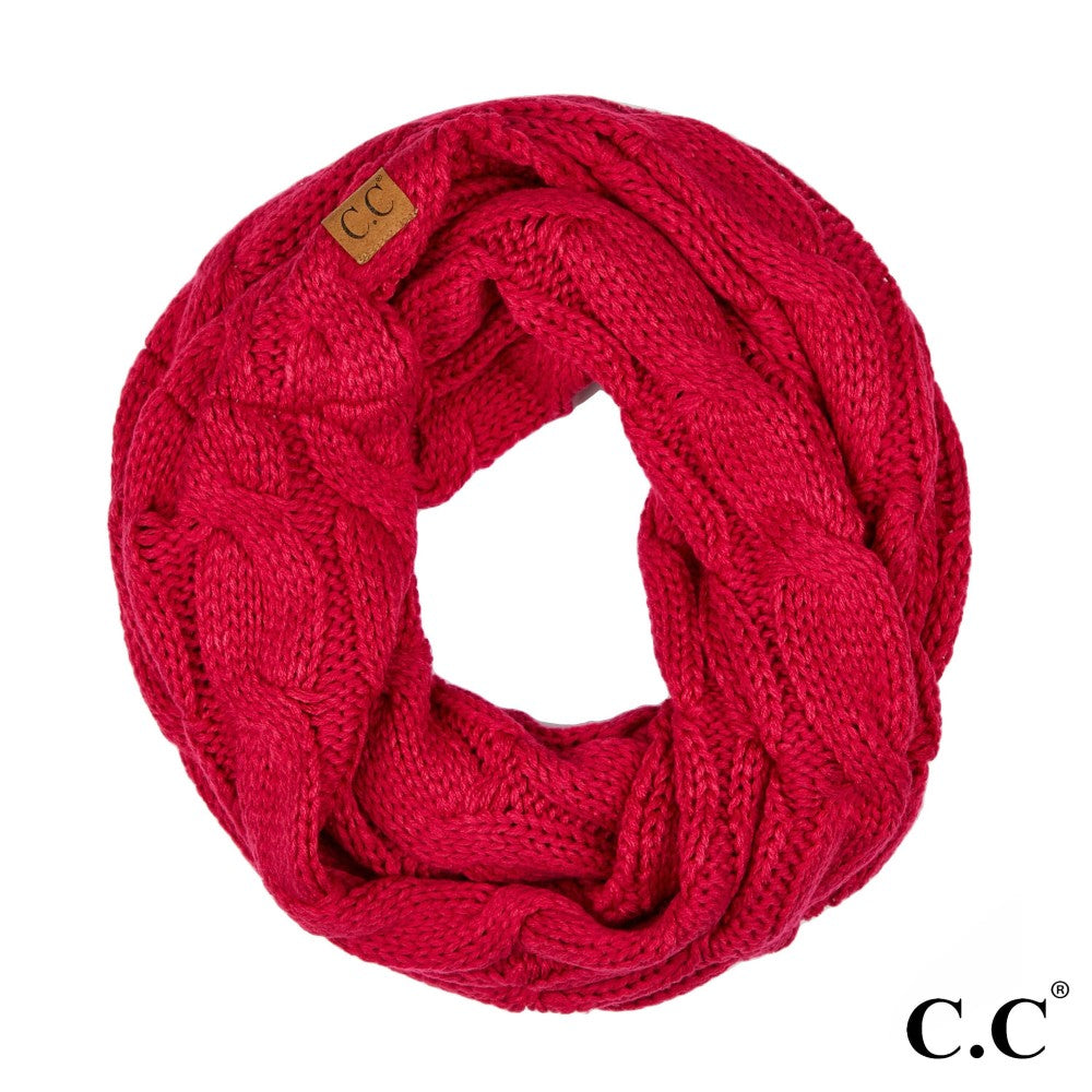 CC Solid Cable Knit Infinity Scarf - Hot Pink