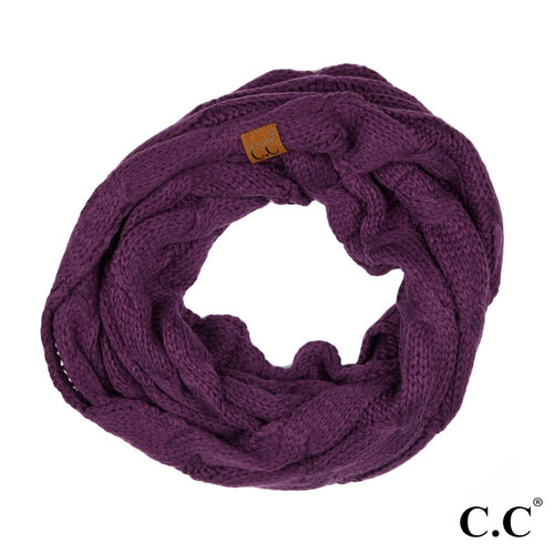 CC Solid Cable Knit Infinity Scarf - Dark Purple