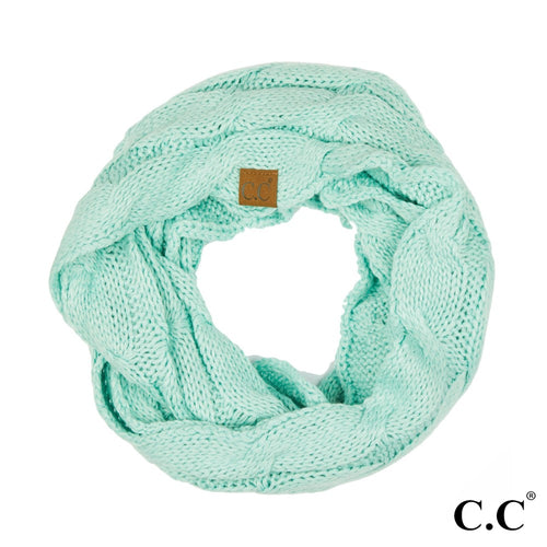 CC Solid Cable Knit Infinity Scarf - Mint