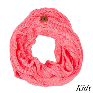 CC Kids Solid Cable Knit Infinity Scarf - New Candy Pink