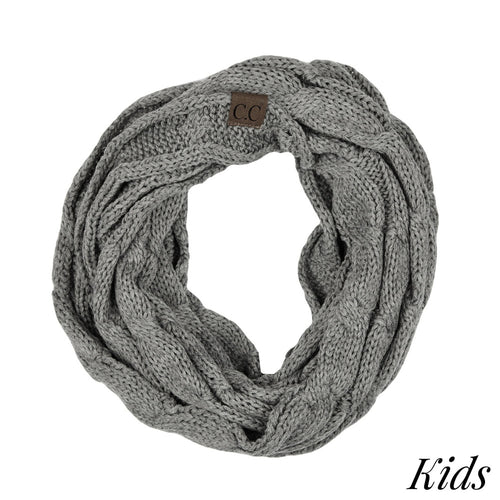 CC Kids Solid Cable Knit Infinity Scarf - Light Pink