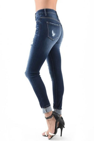 KanCan Cuffed Button Fly Distressed Skinny Jeans