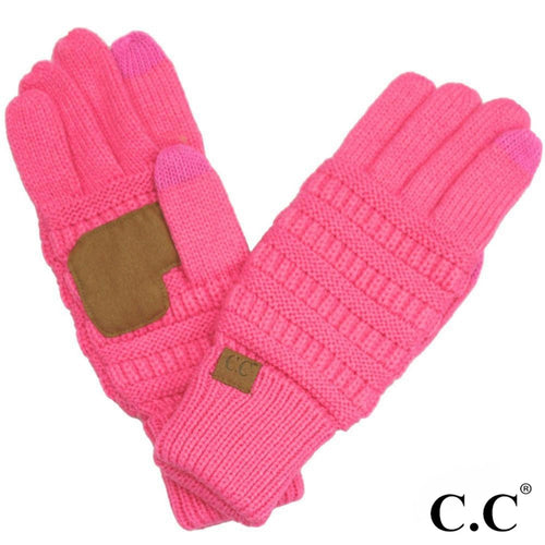 CC Solid Knit Cable Gloves with Lining - New Candy Pink