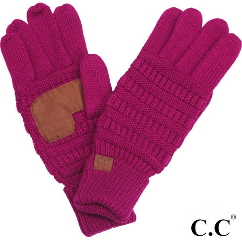 CC Solid Knit Cable Gloves - Hot Pink