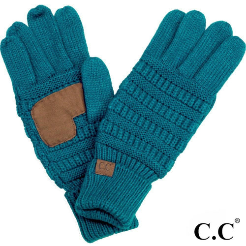 CC Solid Knit Cable Gloves with Lining - Teal