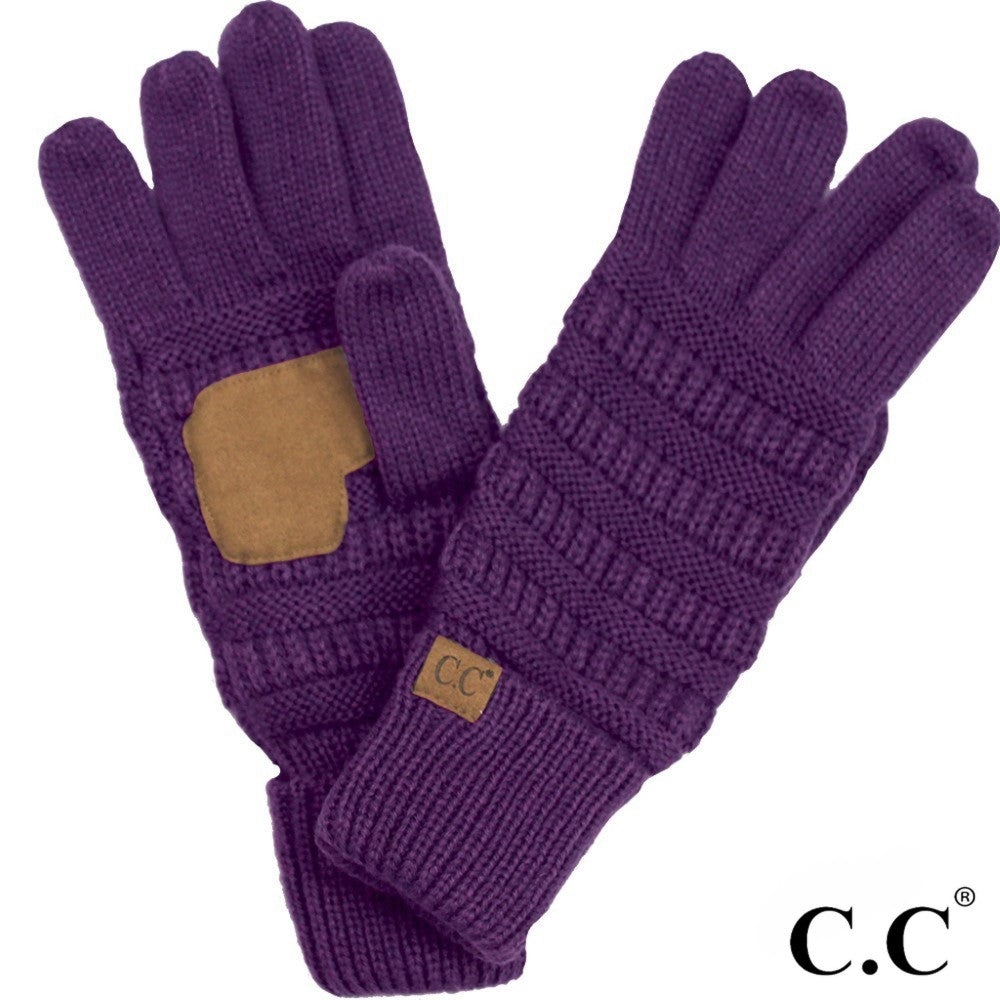 CC Solid Knit Cable Gloves with Lining - Dark Purple