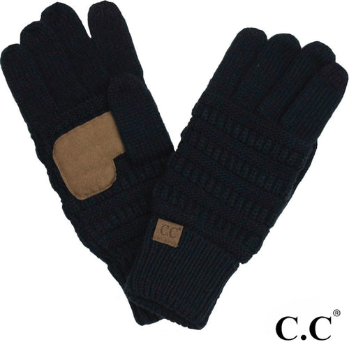 CC Solid Knit Cable Gloves with Lining - Black