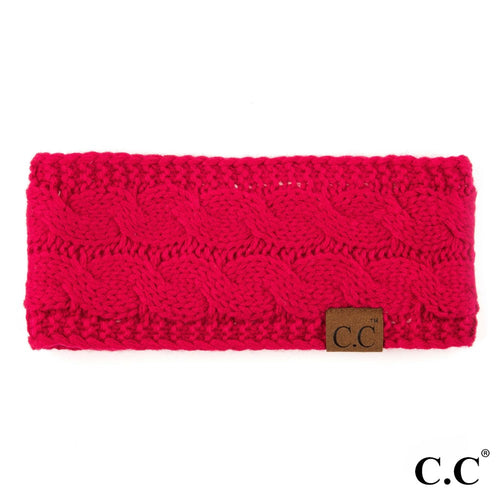 CC Solid Cable Knit Headwrap - Hot Pink