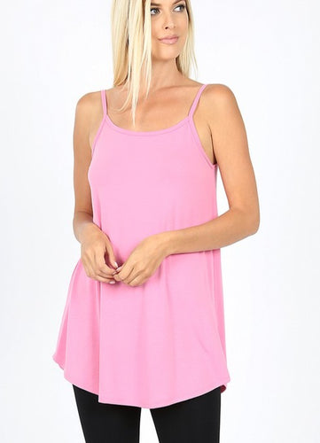 Reversible V-neck/Scoop-neck Tank - Candy Pink