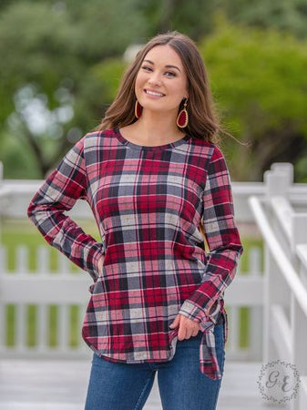 All Tied Up Plaid Top - Maroon