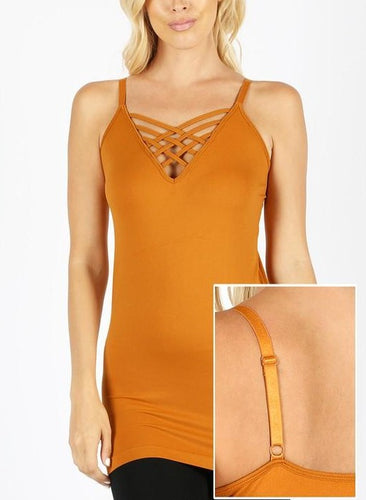 Seamless Lattice Front Cami - Desert Mustard