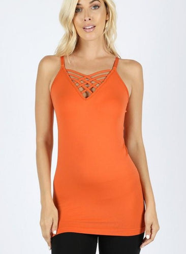 Seamless Lattice Front Cami - Pumpkin