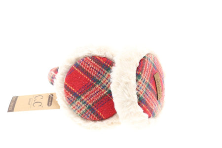 CC Plaid Pattern Earmuff - Red