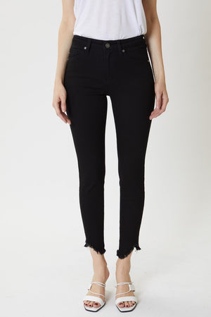 KanCan Black High Rise Skinny Frayed Hem Jeans