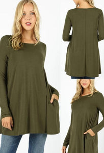 Long Sleeve Swing Tee with Pockets - Dark Olive