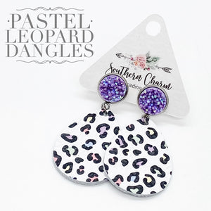 Pastel Leopard Leather Dangles