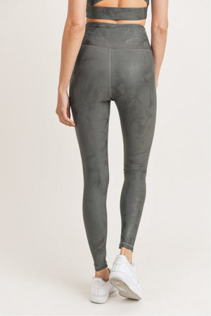 Bed of Clouds Foil Overlay Leggings - Gun Metal