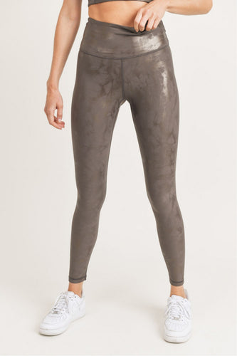 Bed of Clouds Foil Overlay Leggings - Mocha