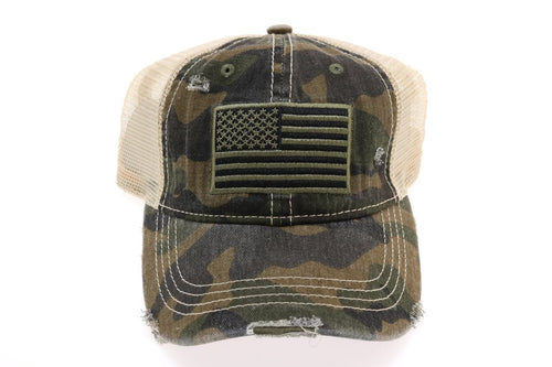 CC Brand - Distressed American Flag Classic Ball Cap - Olive Camo