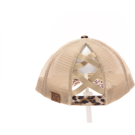 CC Brand - Leopard Criss-Cross High Ponytail Ball Cap
