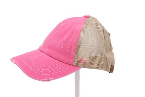 CC Brand - Washed Denim Criss Cross High Ponytail Ball Cap - Pink