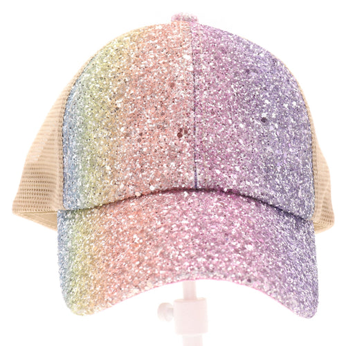 CC Brand - Glitter Criss Cross High Ponytail Ball Cap - Mermaid