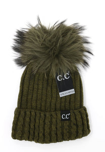 CC Exclusive- Black Label Cable Knit Ribbed Matching Fur Pom Beanie - Dark Olive