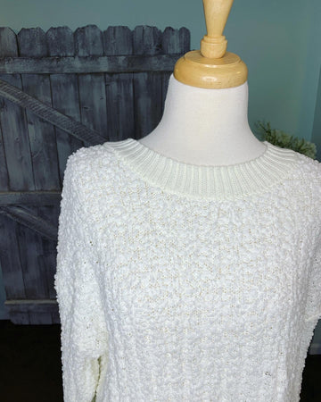 Bounce Around Popcorn Sweater - Ivory - Curvy Exclusive