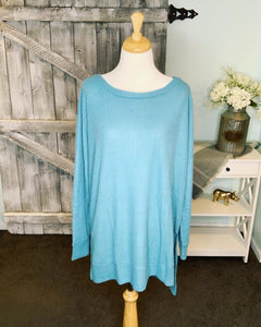 Keep it Casual Thermal - Dusty Teal - Curvy