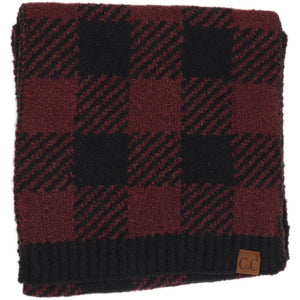 CC Buffalo Print Jacquard Knit Scarf - Black/Berry