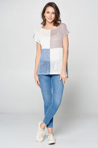 Party for Two Color Block Top - Off White/Taupe
