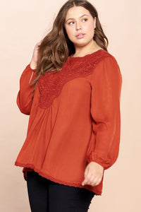 A Lace of Hope Blouse - Rust