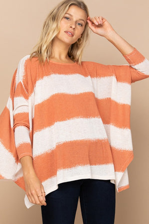 Excited to See You Poncho Top - Burnt Orange