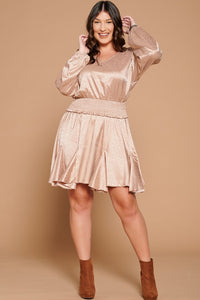 See Us Together Satin Dress - Mocha