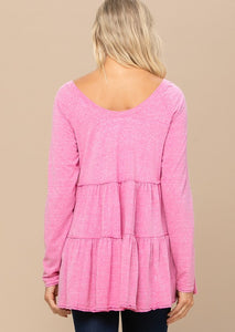Forever Isn't Enough Tiered Tunic - Fuchsia