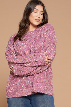 Color My World Confetti Pullover Sweater - Orchid