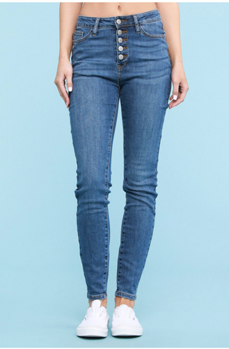 Judy Blue High Rise Button Fly Denim Skinnies