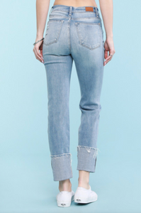 Judy Blue Wide Cuff Relaxed Light Wash Jeans