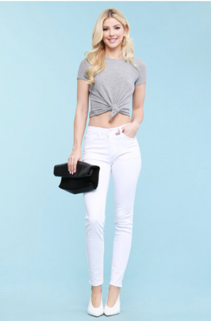Judy Blue White Mid Rise Skinnies