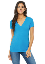 Load image into Gallery viewer, Bella Canvas Women's Vneck Tee - Neon Blue