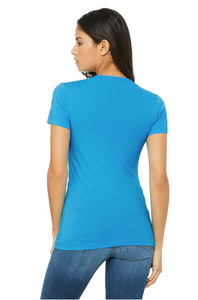 Bella Canvas Women's Vneck Tee - Neon Blue