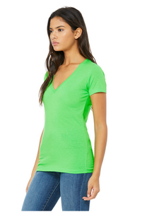 Bella Canvas Women's Vneck Tee - Neon Green