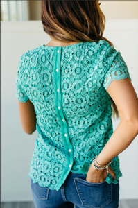 Ampersand Avenue Lace Button Back Blouse - Mint
