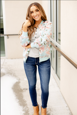 Ampersand Avenue Stay With Me Floral Bomber - Blue