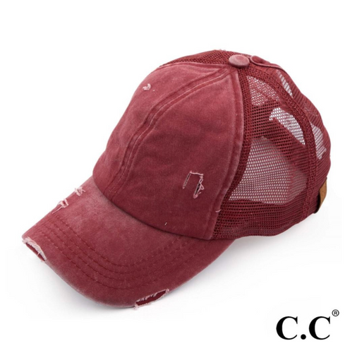 CC Brand - Distressed Mesh Back High Ponytail Ball Cap - Burgundy