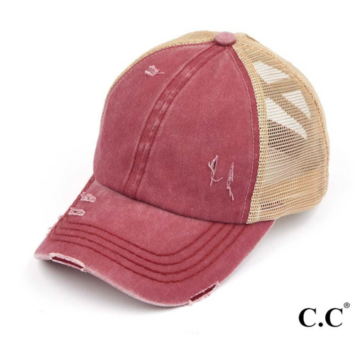 CC Brand - Washed Denim Criss Cross High Ponytail Ball Cap - Berry