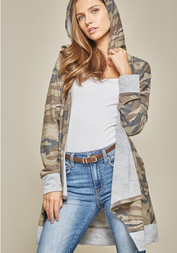 Looking For You Camo Hooded Cardigan