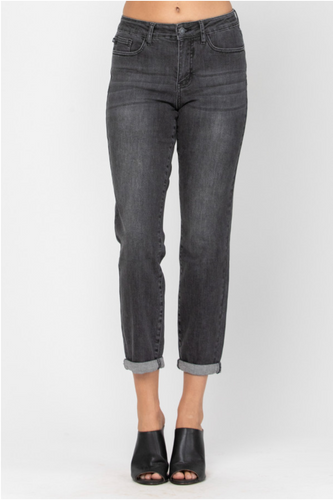 Judy Blue Faded Black Non-Distressed Boyfriend Jeans