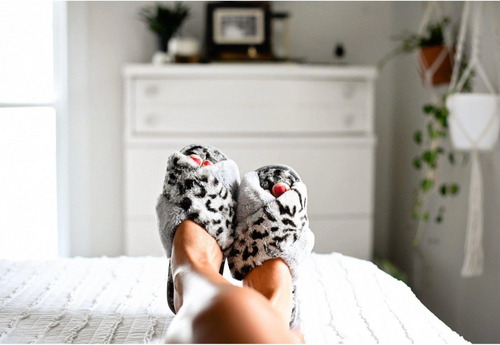 Don't Miss A Beat Slippers - Grey Leopard