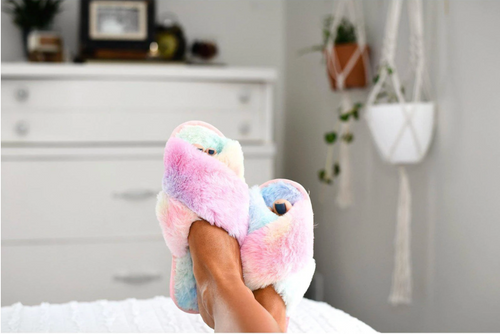 Don't Miss A Beat Slippers - Rainbow Tie Dye